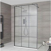 Barq - Floating Glass Walk In Wet Room Shower Enclosure with 1000mm Grid Pattern Screen, Support Arms and 1000mm x 800mm White Slate Effect Tray