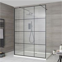 Barq - Floating Glass Walk In Wet Room Shower Enclosure with 1400mm Grid Pattern Screen, Support Arms and 1400mm x 760mm White Tray - Black - Milano