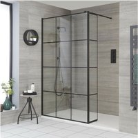 Barq - Recessed Walk In Wet Room Shower Enclosure with Grid Pattern Screen, Hinged Return Panel, Support Arm and 1800mm x 900mm White Slate Effect