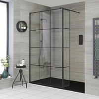 Barq - Recessed Walk In Wet Room Shower Enclosure with Grid Pattern Screen, Hinged Return Panel, Support Arm and 1700mm x 900mm Graphite Slate Effect