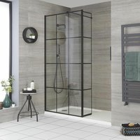 Barq - Recessed Walk In Wet Room Shower Enclosure with Grid Pattern Screen, Hinged Return Panel, Support Arm and 1400mm x 700mm White Tray - Black