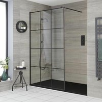 Barq - Recessed Walk In Wet Room Shower Enclosure with Grid Pattern Screen, Support Arm and 1700mm x 900mm Graphite Slate Effect Tray - Black - Milano