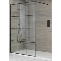 Barq - Recessed Walk In Wet Room Shower Enclosure with Grid Pattern Screen, Support Arm and 1600mm x 800mm White Slate Effect Tray - Black - Milano