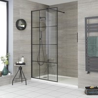 Barq - Recessed Walk In Wet Room Shower Enclosure with Grid Pattern Screen, Support Arm and 1700mm x 900mm White Tray - Black - Milano