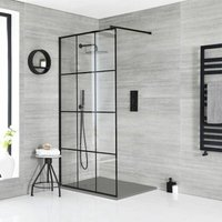 Barq - Walk In Wet Room Shower Enclosure with Grid Pattern Screen, Support Arm and 900mm x 900mm Light Grey Slate Effect Tray - Black - Milano