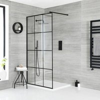 Barq - Walk In Wet Room Shower Enclosure with Grid Pattern Screen, Support Arm and 900mm x 800mm White Slate Effect Tray - Black - Milano