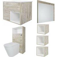 Milano Bexley - Light Oak 810mm Bathroom Furniture Set with Vanity Unit, Toilet WC Unit, Mirror and Three Cube Storage Units
