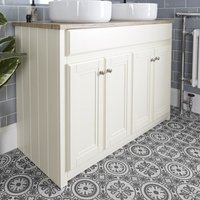 Milano Edgworth - Ivory and Oak 1180mm Traditional Bathroom Vanity Unit with 2 Round Countertop Basins