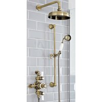 Milano Elizabeth - Traditional 2 Outlet Exposed Triple Thermostatic Mixer Shower Valve with 205mm Round Rainfall Shower Head and Riser Rail Slide Bar