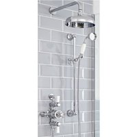 Elizabeth - Traditional 2 Outlet Exposed Triple Thermostatic Shower Valve with 200mm Round Shower Head and Riser Rail Slide Bar Kit - Chrome and White