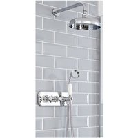 Milano Elizabeth - Traditional 2 Outlet Twin Diverter Thermostatic Mixer Shower Valve with 200mm Round Rainfall Shower Head and Hand Shower Handset