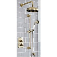 Milano Elizabeth - Traditional 2 Outlet Twin Diverter Thermostatic Shower Valve with 205mm Round Shower Head and Riser Rail Slide Bar Kit - Brushed Gold