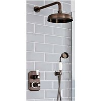 Elizabeth - Traditional 2 Outlet Twin Diverter Thermostatic Shower Valve with Hand Shower Handset and 205mm Round Shower Head - Oil Rubbed Bronze
