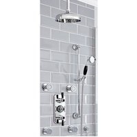 Elizabeth - Traditional 3 Outlet Triple Diverter Thermostatic Shower Valve with 205mm Round Shower Head, Body Jets and Slide Rail Kit - Chrome and Black