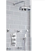 Milano Elizabeth - Traditional 3 Outlet Triple Diverter Thermostatic Shower Valve with 200mm Round Shower Head, Riser Rail Slide Bar Kit and Body Jets