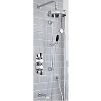 Elizabeth - Traditional 3 Outlet Triple Diverter Thermostatic Shower Valve with 200mm Round Shower Head, Riser Rail Slide Bar Kit and Wall Mounted Bath