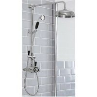 Elizabeth - Traditional Grand Rigid Riser with 2 Outlet Dual Exposed Thermostatic Shower Valve, Round Shower Head and Hand Shower Handset - Chrome and