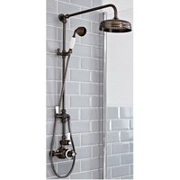 Elizabeth - Traditional Grand Rigid Riser with 2 Outlet Twin Exposed Thermostatic Shower Valve, Round Shower Head and Hand Shower Handset - Oil Rubbed