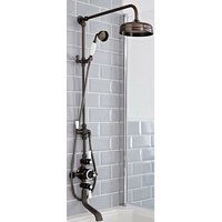 Milano Elizabeth - Traditional Grand Rigid Riser with 3 Outlet Exposed Triple Thermostatic Shower Valve, Round Shower Head, Hand Shower Handset and