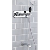 Milano Elizabeth - Traditional Twin Diverter Thermostatic Mixer Shower Valve with Hand Shower Handset, Hose and Wall Mounted Bath Spout - Chrome and