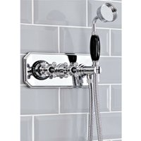 Milano Elizabeth - Traditional Twin Thermostatic Shower Valve with Hand Shower Handset, Hose, Outlet Elbow and Bracket - Chrome and Black
