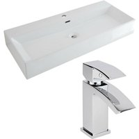 Milano Elswick - Modern White Ceramic 1010mm x 425mm Rectangular Countertop Bathroom Basin Sink and Mono Basin Mixer Tap