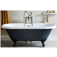 Hest - Stone Grey Traditional Bathroom Double Ended Freestanding Bath with Black Feet - 1795mm x 785mm - Milano