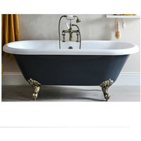 Hest - Stone Grey Traditional Bathroom Double Ended Freestanding Bath with Brushed Gold Feet - 1795mm x 785mm - Milano