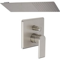 Milano Hunston - Modern Brushed Nickel Manual Diverter Mixer Shower Valve with 200mm x 500mm Wall Mounted Rainfall Shower Head with Waterblade