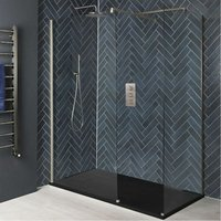 Hunston - Corner Walk In Wet Room Shower Enclosure with Screens, Support Arms and 1200mm x 900mm Anthracite Slate Effect Tray - Brushed Nickel
