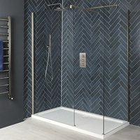 Hunston - Corner Walk In Wet Room Shower Enclosure with Screens, Support Arms and 1200mm x 700mm White Tray - Brushed Nickel - Milano