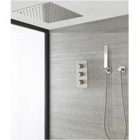 Hunston - Modern 2 Outlet Triple Thermostatic Mixer Shower Valve with Ceiling Mounted 400mm Square Recessed Rainfall Shower Head and Riser Rail Slide