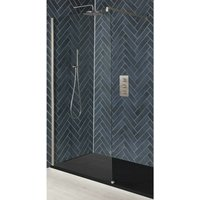 Hunston - Recessed Walk In Wet Room Shower Enclosure with Screen, Support Arm and 1800mm x 900mm Graphite Slate Effect Tray - Brushed Nickel - Milano