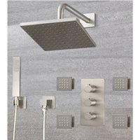 Milano Hunston - Modern 3 Outlet Triple Diverter Thermostatic Mixer Shower Valve with Wall Mounted 200mm Square Rainfall Shower Head, Hand Shower