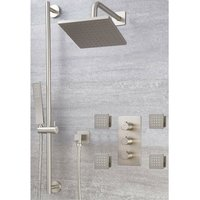 Milano Hunston - Modern 3 Outlet Triple Diverter Thermostatic Mixer Shower Valve with Wall Mounted 200mm Square Rainfall Shower Head, Riser Rail