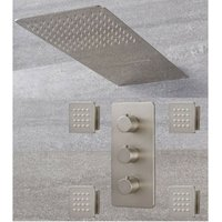 Milano Hunston - Modern 3 Outlet Triple Diverter Thermostatic Mixer Shower Valve with Wall Mounted 200mm x 500mm Rainfall and Waterblade Shower Head