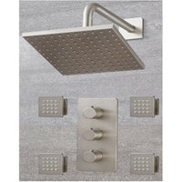 Milano Hunston - Modern 2 Outlet Triple Thermostatic Mixer Shower Valve with 200mm Wall Mounted Square Rainfall Shower Head and Body Jets – Brushed