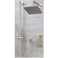 Milano Hunston - Modern 2 Outlet Triple Thermostatic Mixer Shower Valve with 200mm Wall Mounted Square Rainfall Shower Head and Hand Shower Handset
