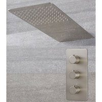 Milano Hunston - Modern 2 Outlet Triple Thermostatic Mixer Shower Valve with 200mm x 500mm Wall Mounted Rainfall and Waterblade Shower Head – Brushed