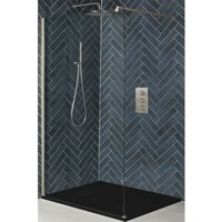 Hunston - Walk In Wet Room Shower Enclosure with Screen, Support Arm and 1400mm x 800mm Graphite Slate Effect Tray - Brushed Nickel - Milano