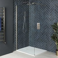 Hunston - Walk In Wet Room Shower Enclosure with Screen, Support Arm and 1400mm x 800mm White Slate Effect Tray - Brushed Nickel - Milano