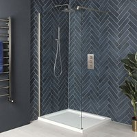 Milano Hunston - Walk In Wet Room Shower Enclosure with Screen, Support Arm and 700mm x 700mm White Tray - Brushed Nickel
