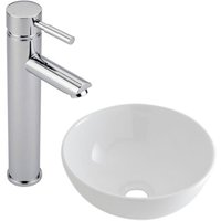 Milano Irwell - Modern White Ceramic 320mm Round Countertop Bathroom Basin Sink and High Rise Mono Basin Mixer Tap