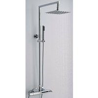 Mirage - Modern Thermostatic Bar Mixer Shower Valve with 200mm Square Fixed Rainfall Shower Head and Hand Shower Handset Rigid Riser Kit - Chrome