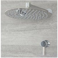 Mirage - Modern 1 Outlet Manual Mixer Shower Valve with 300mm Wall Mounted Round Rainfall Shower Head - Chrome - Milano