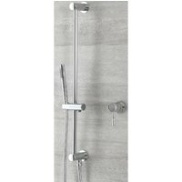 Mirage - Modern 1 Outlet Manual Mixer Shower Valve with Hand Shower Handset Slide Rail Bar Kit - Chrome - Milano