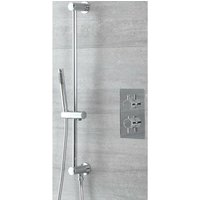 Mirage - Modern 1 Outlet Twin Thermostatic Mixer Shower Valve with Hand Shower Handset Slide Rail Bar Kit - Chrome - Milano