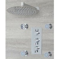 Milano Mirage - Modern 2 Outlet Triple Thermostatic Mixer Shower Valve with 300mm Wall Mounted Round Rainfall Shower Head and Four Body Jets - Chrome