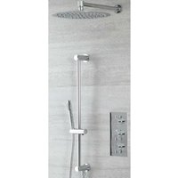 Mirage - Modern 2 Outlet Triple Thermostatic Mixer Shower Valve with 300mm Wall Mounted Round Rainfall Shower Head and Hand Shower Handset Slide Rail
