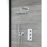 Milano Mirage - Modern 2 Outlet Triple Thermostatic Mixer Shower Valve with 300mm Wall Mounted Round Rainfall Shower Head and Round Hand Shower